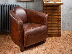Gallery Vintage Style Lived in Brown Leather Cortina Lounge Chair