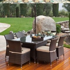 Wicker Dining Set: Dublin Wicker Dining Set - Seats 6 by Terrace Living Company LLC. $1199.98. Additional features: Each chair measures 20W x 24D x 33H inches Chair weight capacity: 225 lbs. Chair weight: 12 lbs. Table measures 66L x 39W x 28.5H inches Table weight: 70 lbs. Pedestal table base w/ stylish glass table top Matt aluminum details wrapped around the feet Chairs come fully assembled tables require minor assembly Includes table 6 dining chairs 6 seat cushi...