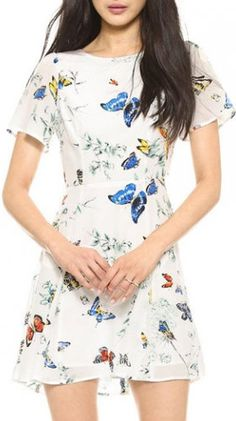 Short Sleeve Butterfly Print Cutout Pattern Mini Dress