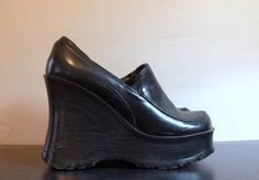 849fa470736c52 90s Black Leather Platform Shoes 1990s Super Chunky Club Kid Platform Wedges  Slip On Leather Loafers Wood Grain Aldo Euro 38 US Womens 7 7.5