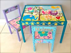 Items similar to Baby Owls Play Table and 2 Chairs on Etsy Paint Kids Table, Kids Table And Chairs, Play Table, Old Chairs, Kid Table, Painting Kids Furniture, Diy Kids Furniture, Funky Furniture, Painting For Kids