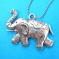 Cute Elephant Animal Charm Necklace in Shiny Silver $7.99 #elephant #animals #jewelry #necklace #cute