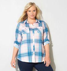 Shop trendy fall shirts like a plus size plaid button down like the plus size Button Pocket Plaid Knit Shirt available online at avenue.com. Avenue Store