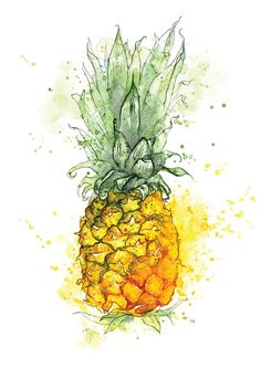 Giclee Fine Art Print: Pineapple Watercolor Painting - Reproduction of fine art giclee print of my original illustration. * Print only – frame and mount - Pineapple Wallpaper, Pineapple Art, Pineapple Drawing, Pineapple Tattoo, Pineapple Pictures, Watercolor Fruit, Watercolour Painting, Pineapple Watercolor, Pinapple Painting
