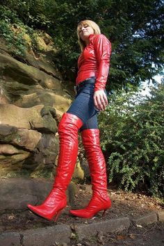 Red OTK high heel boots jeans and red leather jacket