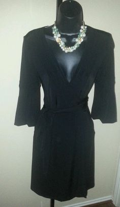 Bcbg MAX And CLEO Black Jersey Knit Bell Sleeves Wrap Dress Sz XS ★EUC★ #Dress #Fashion #Deal
