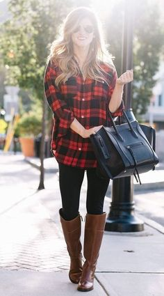 red and black plaid shirt, black leggings, tory burch brown leather riding boots, black celine phantom tote, gold aviators Plaid Shirt Outfits, Legging Outfits, How To Wear Flannels, Black Plaid Shirt, Black Leggings Outfit, Red And Black Flannel, Fall Leggings, How To Wear Leggings, Plaid Tunic