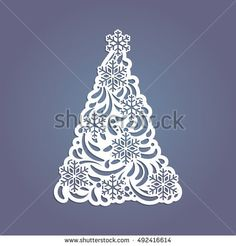 Christmas tree cut out of paper. Template for Christmas cards, invitations for Christmas party. Image suitable for laser cutting, plotter cutting or printing.