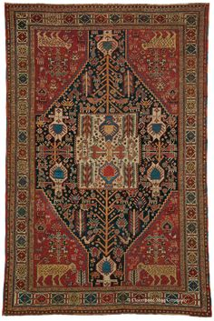 QASHQAI SHEKARLU, Southwest Persian 4ft 5in x 6ft 7in 3rd Quarter, 19th Century http://www.claremontrug.com/antique-rugs-information/collecting/claremont-rug-companys-new-acquisition-highlights-antique-persian-rugs/