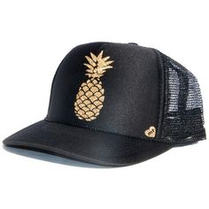 Mother Trucker Pinneapple Hat ($25) ❤ liked on Polyvore featuring accessories, hats, swimwear, pineapple hat, mesh back hats, logo trucker hats, mesh back snapback hats and logo hats