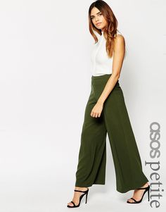 ASOS PETITE Wide Leg Luxe Crepe Trousers
