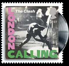 Classic albums as postage stamps  The Clash's iconic cover for their 1979 third album 'London Calling'. The shot depicts bassist Paul Simonon smashing his Fender on the stage of the New York Palladium earlier that year and the design of the cover echoes Elvis Presley's debut album.