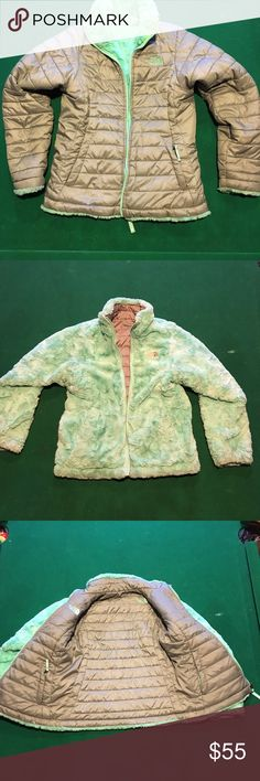 North Face Gray / Mint Green reversible sz M 10-12 In excellent condition. Girls reversible North face size M 10-12 Gray smooth on one side and Mint Green fuzzy on the other.  In very good to new condition. North Face Jackets & Coats