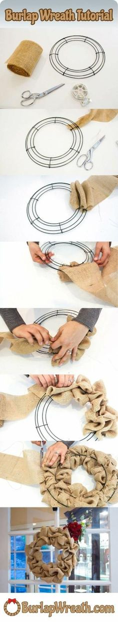 How to make a burlap wreath: Want to make a burlap wreath? Check out this easy to use tutorial showing you how to make a burlap wreath in less than 10 minutes. All you need is a wreath frame, 20-30 feet of burlap ribbon and some wire. DIY burlap wreaths make a great craft project. by ammieiscool by carlene