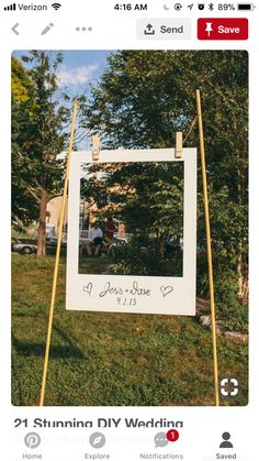 Stunning DIY Wedding Photo Booth Backdrops This giant polaroid frame is a great spin on a photobooth.This giant polaroid frame is a great spin on a photobooth. Rustic Wedding, Our Wedding, Dream Wedding, Wedding Tips, Wedding Simple, Trendy Wedding, Cheap Wedding Ideas, Wedding Ceremony, Unique Weddings