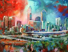 Perth City, Acrylic on Canvas, 100cmx130cm by artist Jos Coufreur