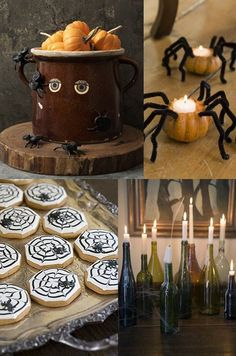 Halloween ideas - love the spider pumpkins!