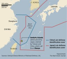 Another view of the conflicting air defense zones (China, Japan).