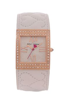 Women's Crystal Embellished Rose Gold-Tone Quilted Genuine Leather Cuff Watch by Betsey Johnson @HauteLook