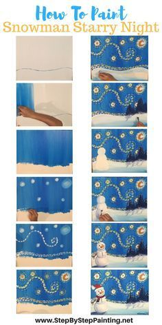 How To Paint Snowman Starry Night - Tracie's Acrylic Canvas Tutorials. Step by step painting for the absolute beginner of all ages. art How To Paint A Snowman Starry Night - Step By Step Painting Paint And Sip, How To Paint, Canvas Painting Tutorials, Diy Painting, Painting Canvas, Beginner Painting, Fabric Painting, Mery Crismas, Draw Tutorial