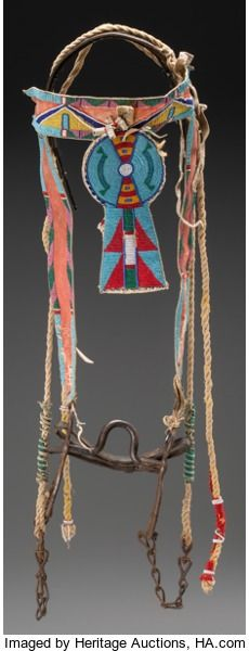 American Indian Art:Beadwork and Quillwork, A Crow Beaded Hide Headstall... Indian Beadwork, Native Beadwork, Native American Beadwork, Native American History, Native American Indians, Horse Bridle, Horse Gear, Headstalls For Horses, American Indian Crafts