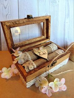 """Personalized Ring Bearer Box Glass Ring Box Wedding Ring Box, Rustic Wedding Bearer Box,Rustic Wedding, Proposal box,Engagement Ring Box    This Wooden Ring Box is good alternative as wedding ring pillow.    Box is adorned with lace! The inside features a heart  and can be engraved with the wedding date or your initials or just to say: I do    Measurments:    4 3/4"""" * 2 3/4 """" * 2 """" or  12cm. * 7 cm * 7cm      When purchasing, please let me know what you would like engraved on the wood heart…"""