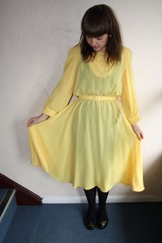 Yellow 70s Dress For Sale