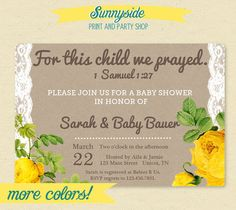 For This Child We Prayed.    1 Samuel 1:27 inspired baby shower invite featuring vintage yellow roses.
