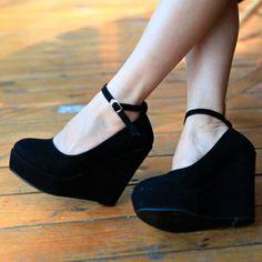 Womens Solid European High  Heels Wedges Platforms  Ankle Strap Pumps Shoes 1lE