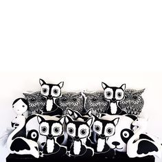 Having a house full of these Clean cuties is really proving to be a problem ... Little hands and fingers want to play with them all  help me solve this problem and buy away  #etsy #shop #pillow #fox #owl #panda #kokeshi #doll #swan #flamingo #woodlands #animal #pillow #pillows #clean #white #black #home #decor #kids #kid #baby #nursery #decor #southafrica #capetown Swan, Fingers, Flamingo, Nursery Decor, Panda, Fox, Snoopy, Cleaning, Etsy Shop