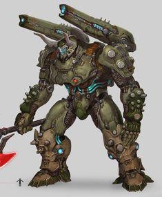 Robot Concept Art, Armor Concept, Weapon Concept Art, Monster Truck Drawing, Character Concept, Character Art, Doom Demons, Robot Animal, Game Design