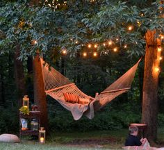 Hammock Add a romantic look to your backyard with lights + hammock!Add a romantic look to your backyard with lights + hammock! Backyard Hammock, Backyard Patio, Backyard Landscaping, Backyard Ideas, Hammocks, Pergola Ideas, Landscaping Ideas, Outdoor Hammock, Backyard Decorations