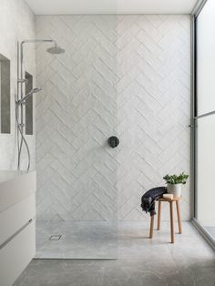 Gorgeous step in shower with handmade fire clay subway tile laid in a herringbone pattern. Melissa Lunardon Gorgeous step in shower with handmade fire clay subway tile laid in a herringbone pattern. Bad Inspiration, Bathroom Inspiration, Bathroom Ideas, Bathroom Inspo, Bathroom Organization, Bathroom Trends, Bathroom Accesories, Budget Bathroom, Restroom Ideas