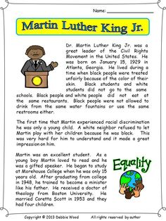 A two page biographical reading on Martin Luther King Jr. This lesson also includes 3 vocabulary worksheets and much more. English Reading, English Writing Skills, English Lessons, Learn English, English Grammar Worksheets, Grammar Lessons, Vocabulary Worksheets, Reading Comprehension Worksheets, Reading Passages
