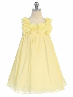 These are the flower girl dresses... Yellow Yoryu Chiffon Dress w/Rose Buds