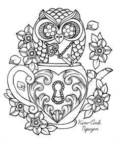 Steampunk Teacup Owl Coloring Page Printable Adult Kleuren Voor Volwassenen Frbung Fr Erwachsene Coloriage Pour Adultes