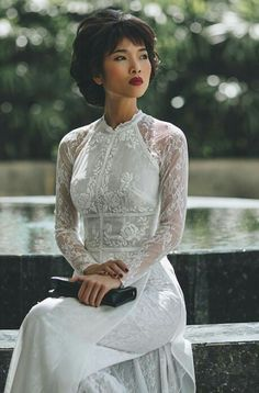 Lovely, white lace ao dai  #marknvy #aodai #vietnam #traditionaldress