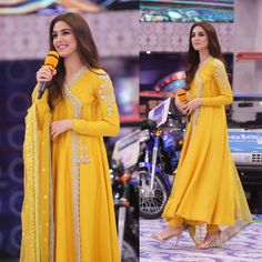 Maya Ali as guest in for promotion of her movie 💛 Asian Wedding Dress Pakistani, Beautiful Pakistani Dresses, Pakistani Fashion Party Wear, Pakistani Formal Dresses, Indian Bridal Fashion, Pakistani Dress Design, Pakistani Outfits, Indian Outfits, Beautiful Dresses