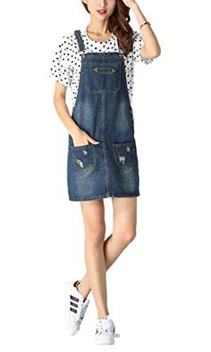 cb1a1b24d38 Skirt BL Women s Blue Vintage High Waist Suspender Denim Overall Mini Jean  Dress