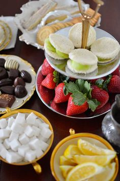 Throwing a Tea Party Sugar cubes. Lemon wedges. Use milk. Have savory and sweets, chocolates and fruits.