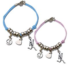 ChalkTalk Lacrosse Peace Love Lax Charm Bracelet   Features: Adjustable cord charm bracelet. 3 Interchangeable silver charms. Peace charm, Heart charm and Lacrosse stick figure girl charm. Silver plated. Choose from blue or pink bracelet. One Size fits most girls
