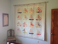Nautical sailboat quilt (pattern: Fig Tree & Co., fabric:  Avalon by Fig Tree & Co. for Moda)