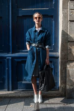 street style: Paris Fashion Week Spring 2015. #denim