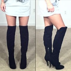 Knee high boots GUESS knee high/over the knee suede boots! Only wore these 3x!!!!! Need a good home! Soooo cute and easy to wear! ..... These are sized as a 7.....BUT I'm selling them (even though I love them) because they actually fit more like a 6/6.5..... They run small! They are Narrow at the toes....So I would recommend them to someone who wears a 6 or 6.5 ...OR someone who already knows they wear a GUESS size 7!!! Zipper on inside of boot. No trades please! Guess Shoes Over the Knee…