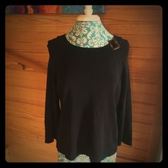 Laura Ashley black dress sweater. Laura Ashley black dress sweater with tortoise buckle on collar. Large, Would fit 12 best. Bought from another Posher. It was too big for me. Laura Ashley Sweaters Crew & Scoop Necks