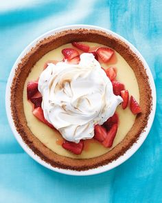 Strawberry-Lemonade Icebox Pie Recipe -- The meringue topping is just right for the tangy, cool lemon filling (and provides a way to use the whites from the separated eggs).