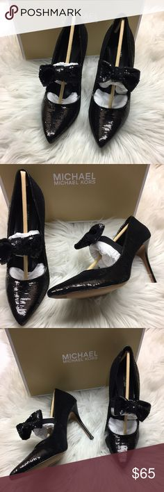 ee94527386d Michael Kors Black Sequins Heels 10M New in box. (Tried On Only).