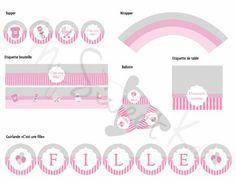 kit à imprimer pour sweet table bébé fille #sweettable #babyshower #bapteme #anniversaire