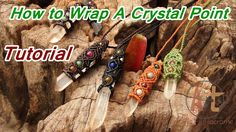 How to Tutorial macrame wrapped crystal point stone with waxed cord