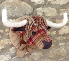 Handmade tweed highland cow faux taxidermy brown by Lavendonmade